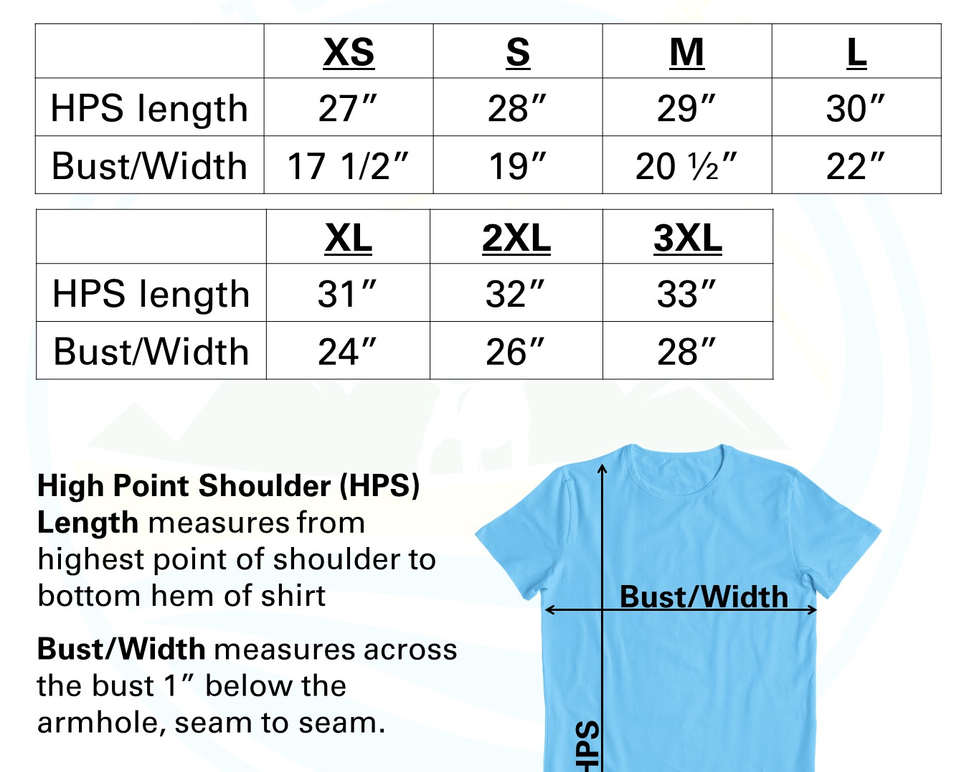 Adult Unisex Short Sleeve Crew Sizing Chart