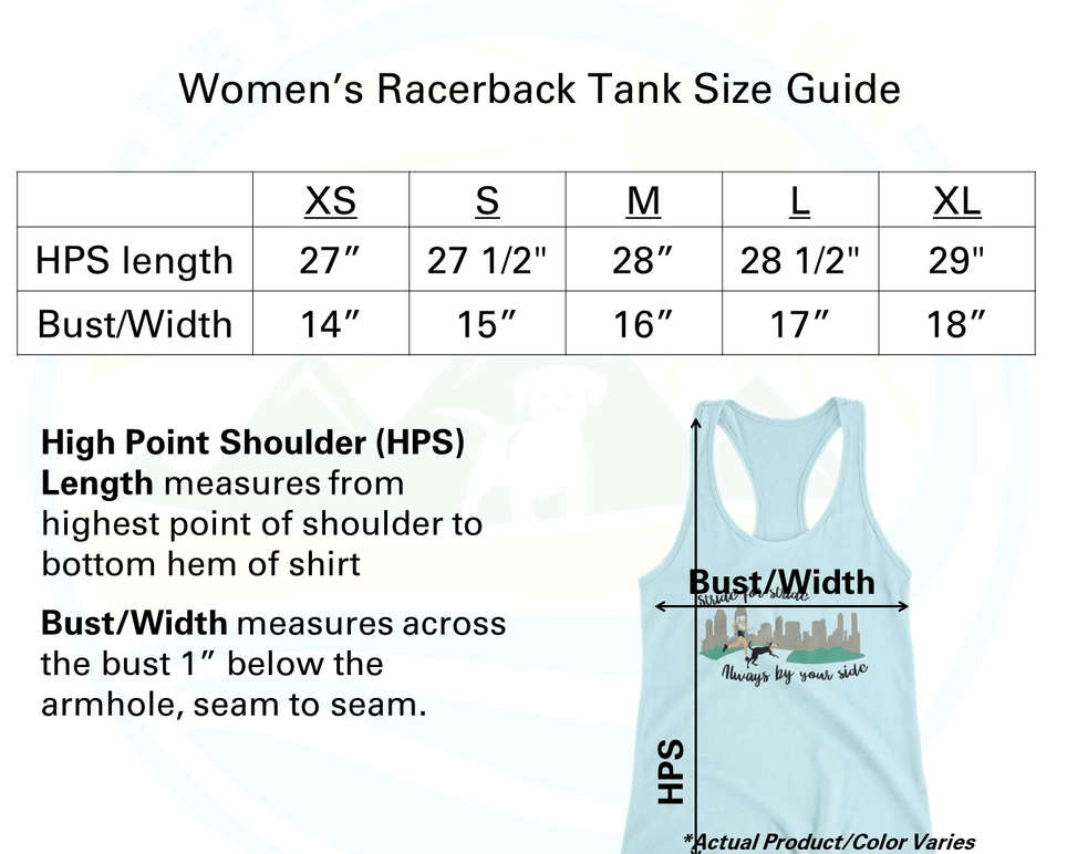 Women's Racerback Tanktop Sizing Chart