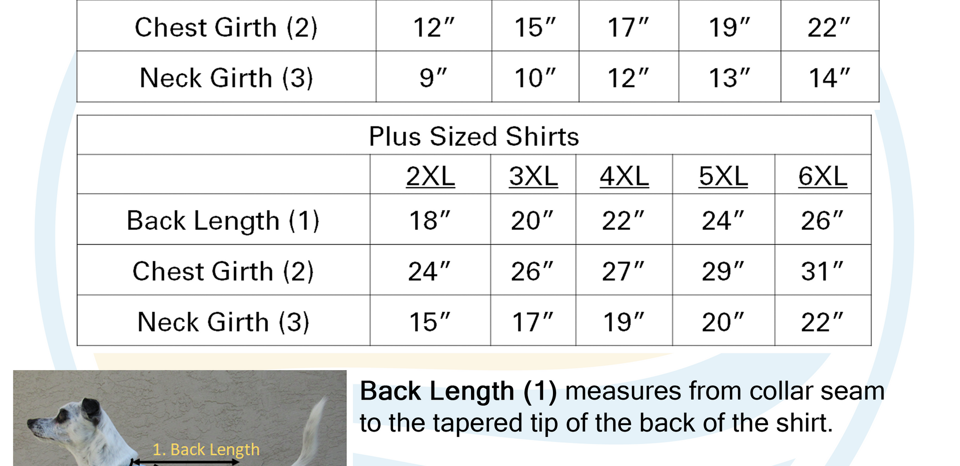 Dog's Sizing Chart with Measurements