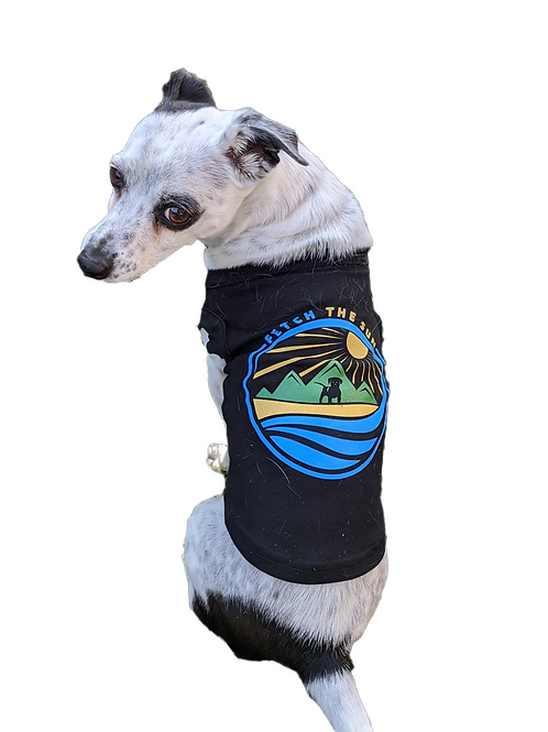 Black Fetch the Sun Logo Dog Shirt. Matching shirts for people available. Fits small, medium, large and extra large dogs.