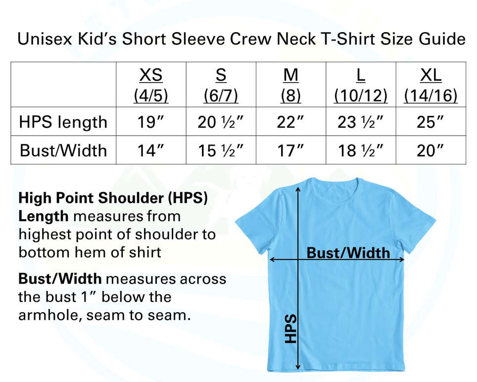 Youth Short Sleeve Crew Sizing Chart