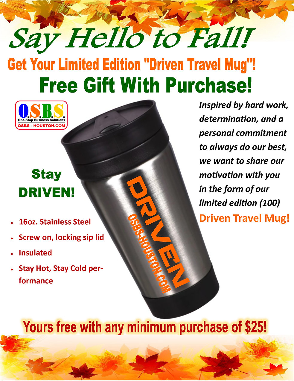 DRIVEN GIFT WITH PURCHASE TRAVEL MUG PRO