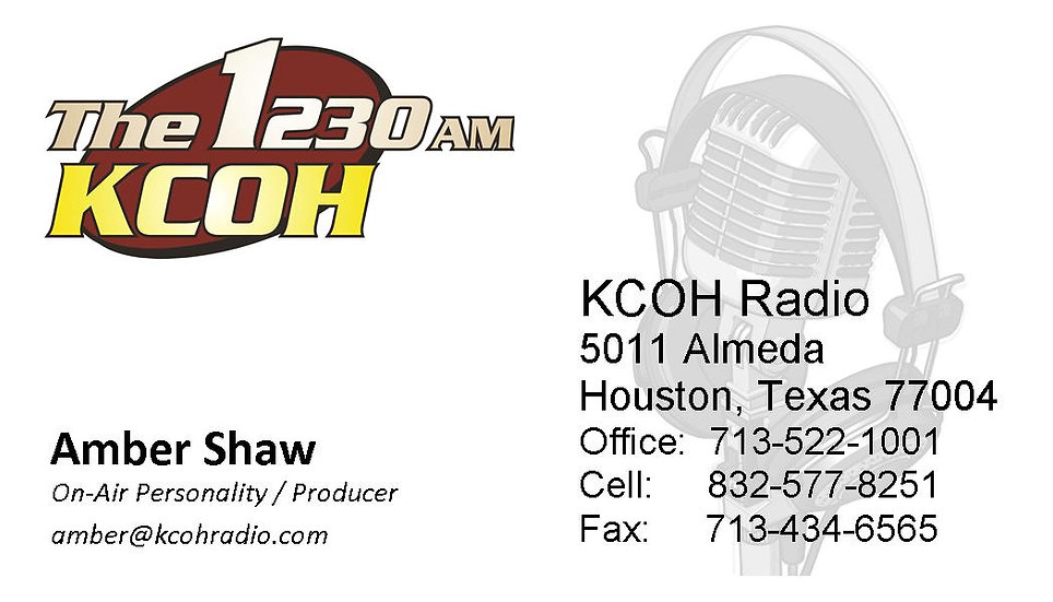KCOH OFFICIAL BUSINESS CARDS 250Q / SHAW