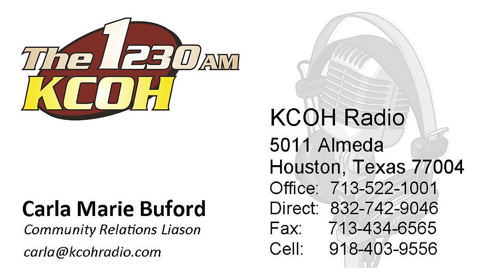 KCOH OFFICIAL BUSINESS CARDS 250Q / BUFORD