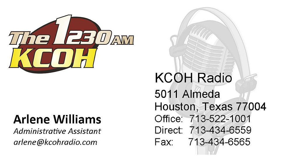 KCOH OFFICIAL BUSINESS CARDS 250Q / WILLIAMS