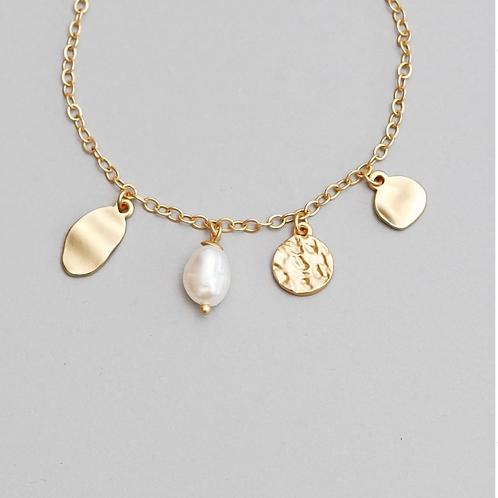Audrey Armkette mit Süßwasserperlen vergoldet / versilbert