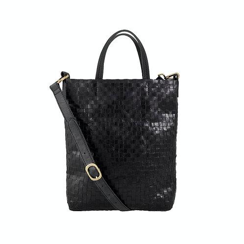 schwarze, geflochtene Tasche