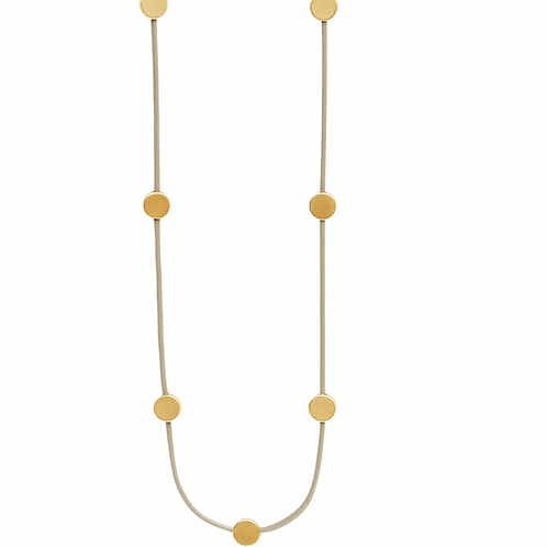 Lange Vanity Lederhalskette vergoldet / versilbert