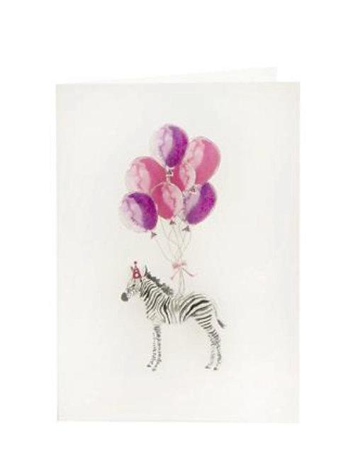 handgezeichnete Glückwunschkarte mit einem Zebra und rosafarbenen Luftballons