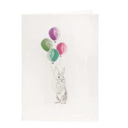 handgezeichnete Glückwunschkarte mit einem Hasen und rosafarbenen Luftballons