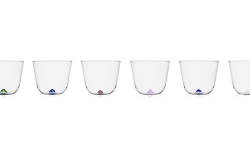 6-er Set Bambus Party Gläser mit  farbigem Glaspunkt in der Mitte von Ichendorf Milano