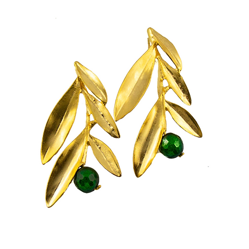 Ohrringe Blätter vergoldet mit  grüner Jade