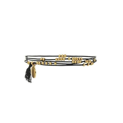 Armkette Victoria Tassel mit schwarzen Lederbändern und vergoldeten Details