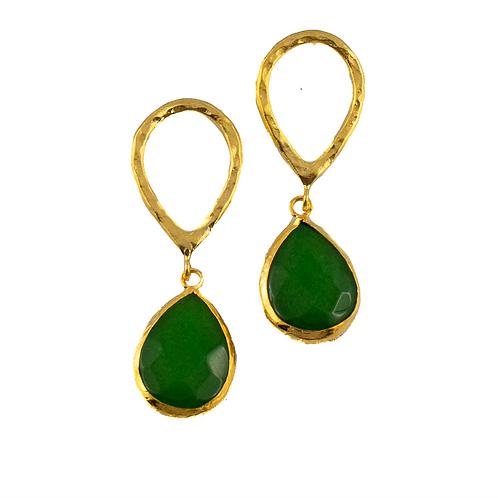 Ohrringe vergoldet mit  grüner Jade