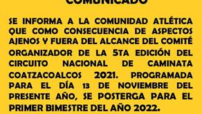 5a. Edición del Circuito Nacional de Caminata Coatzacoalcos 2021
