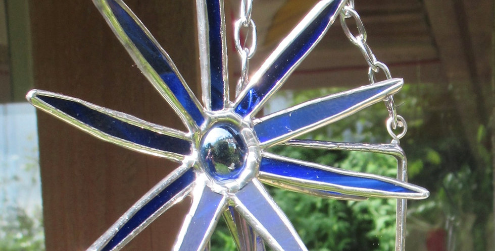 Small Blue Stained Glass Flower Mirror