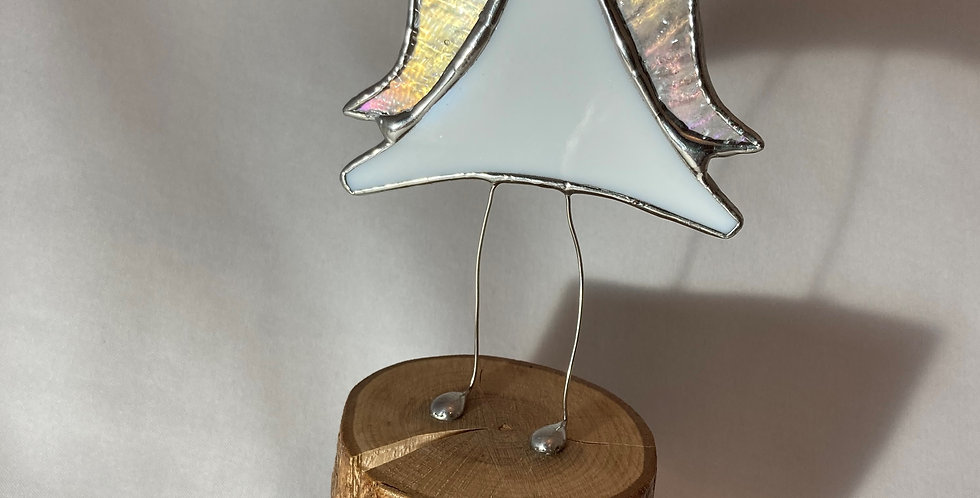 White Stained Glass Jiggling 'Angel with Attitude' Christmas Decoration