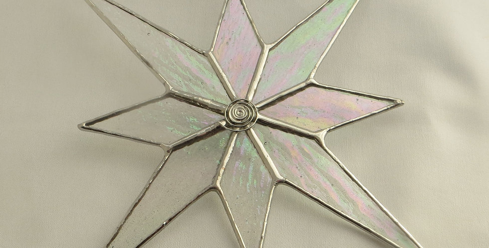 Large Irridescent Stained Glass Christmas Star Decoration