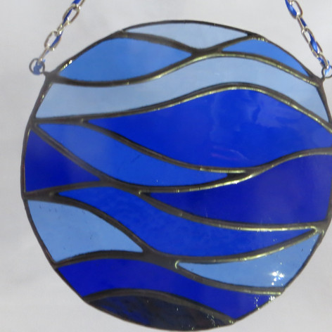 stained glass, commission, blue stained