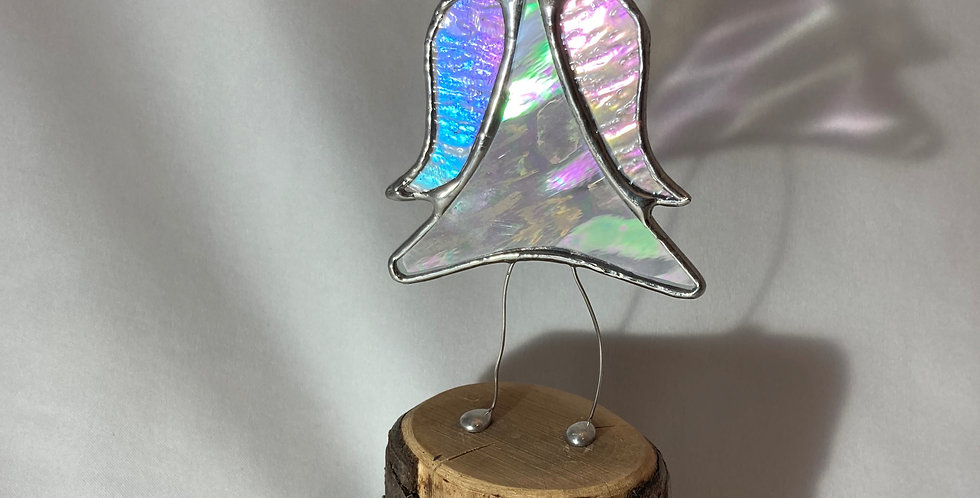 Irridescent Stained Glass Jiggling 'Angel with Attitude' Christmas Decoration