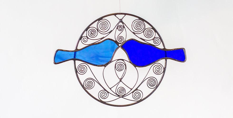 Blue Kissing Birds in Brass Hoop
