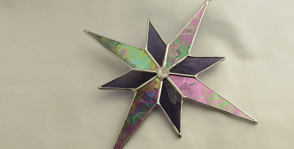 Large Purple Stained Glass Christmas Star Decoration