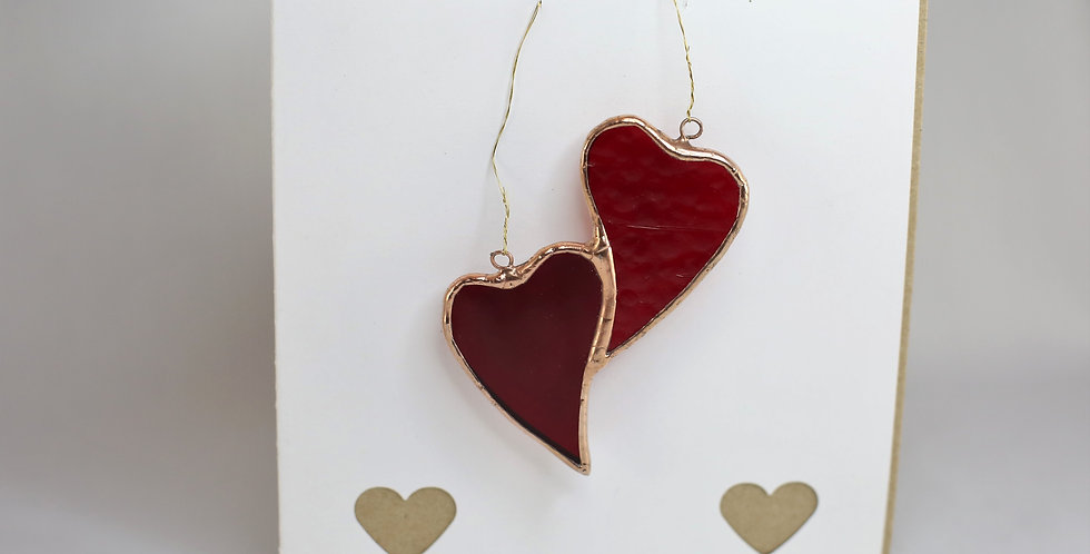 Interlocking Stained Glass Hearts with a handmade card