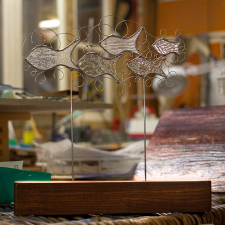 stained glass, shaol of fish, bespoke de