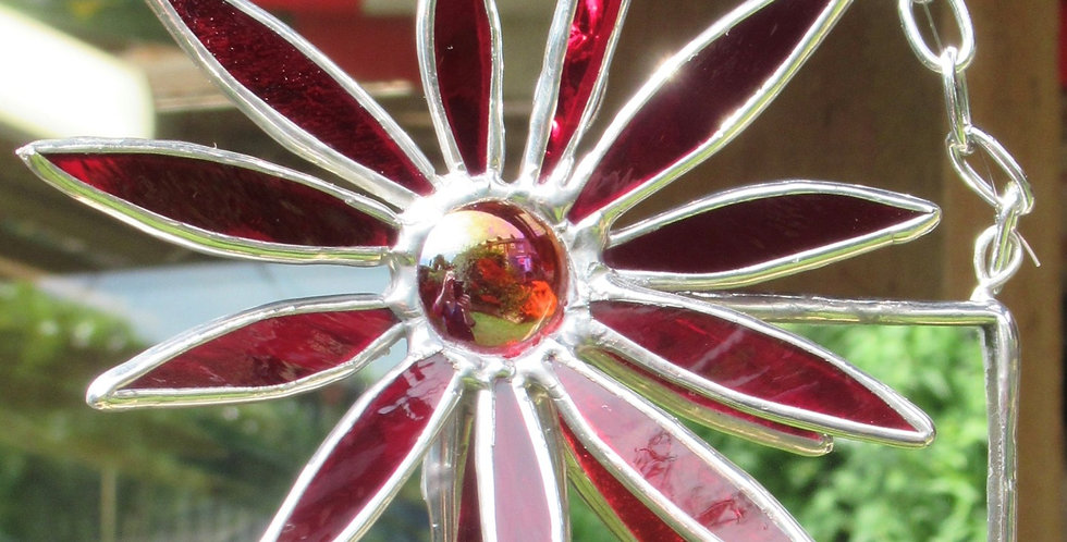 Small Red Stained Glass Flower Mirror