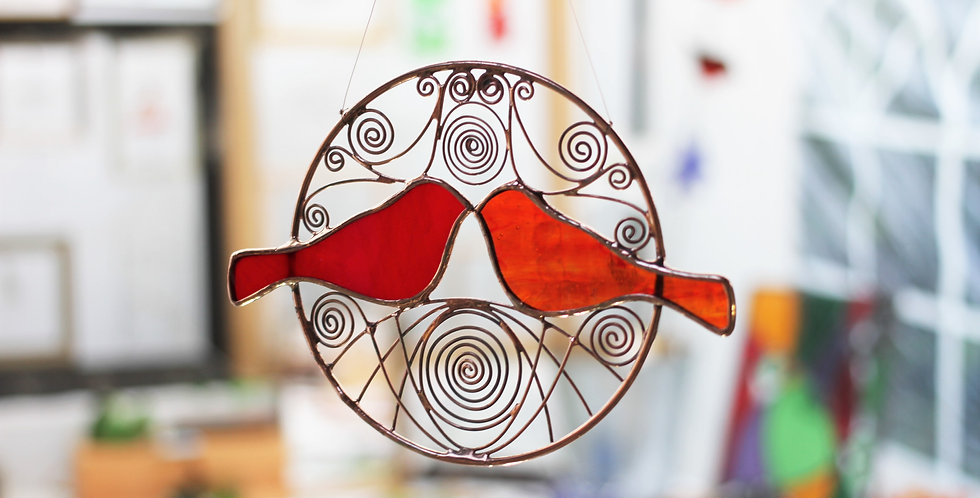 Red Kissing Birds in Brass Hoop