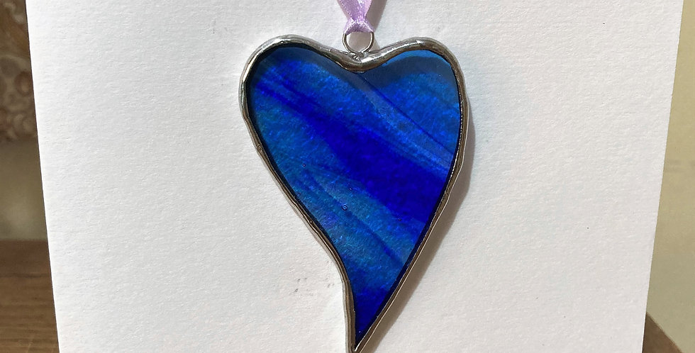 Hanging Stained Glass Heart with a handmade card