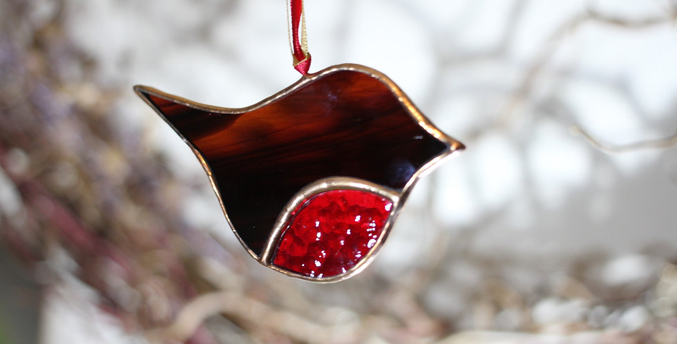 Stained Glass Hanging Robin
