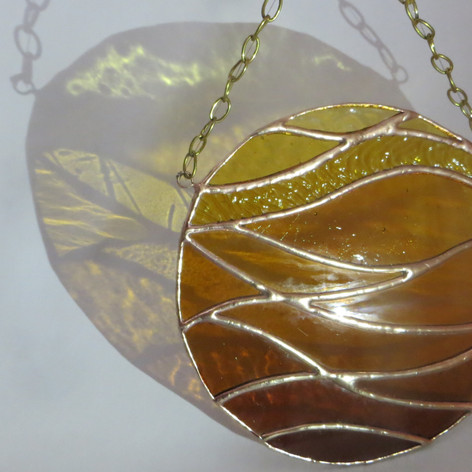 stained glass, commission, amber stained