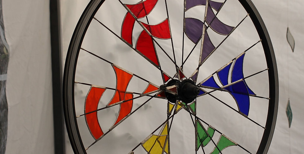Hanging Rainbow Coloured Stained Glass Bicycle Wheel Sculptural Decoration