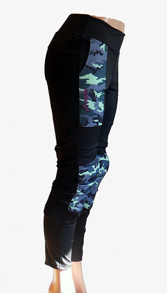 Enduro Mountain Bike Pants Black with Blue Camo