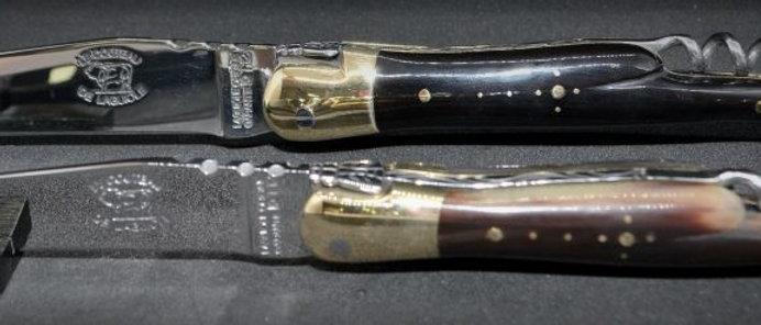 Couteau 2 pièces - pointe de corne - laiton