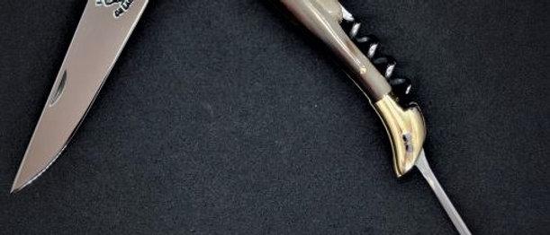 Couteau 3 pièces - Pointe de corne - Laiton