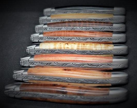 Couteau 1 pièce - bois massif - inox satiné