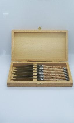 Coffret de 6 couteaux de table - inox satiné et bois