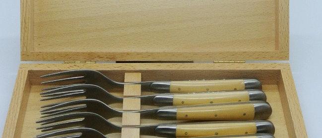 Coffret de 6 fourchettes - inox et bois massif