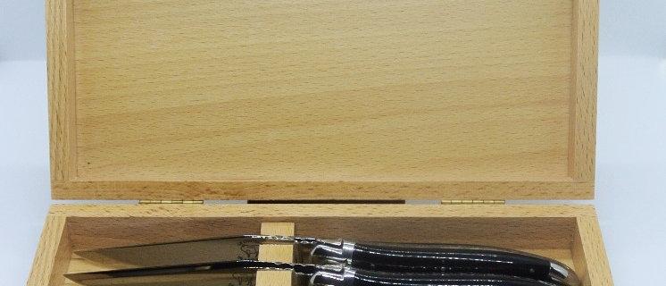 Coffret de 6 couteaux de table -  inox et pointe de corne