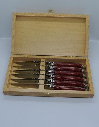 Coffret de 6 couteaux de table en tissu compressé