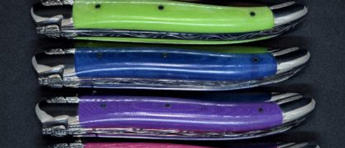 Couteau 1 pièce - tissu compressé - inox brillant