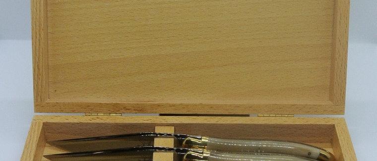 Coffret de 6 couteaux de table en pointe de corne