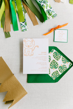 lion first birthday party invitation sui