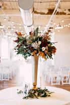 downtown Memphis autumn wedding reception floral arrangement