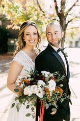downtown Memphis autumn wedding bride and groom