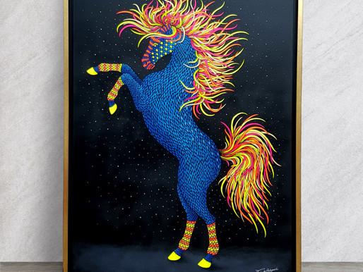 """""""BLUE MUSTANG"""" - Nouveau tableau - 130 x 97cm, acrylique sur lin"""