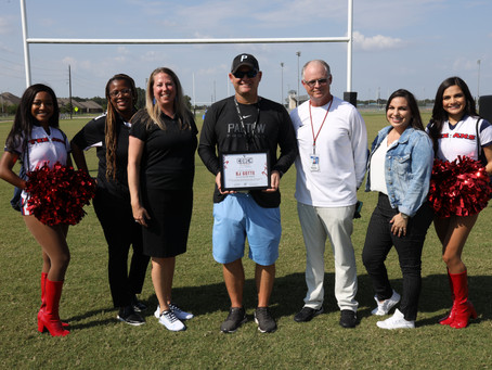 Paetow HS Football Coach Earns Texans' Coach of the Week; Receives Grant for Program
