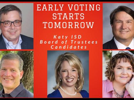 Early Voting Starts Tomorrow, 3 Katy ISD Board of Trustees Seats on Ballot